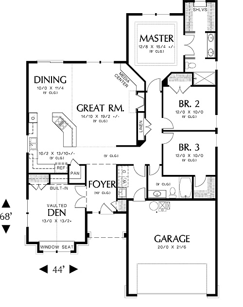 First Floor Plan image of Featured House Plan: BHG - 5525