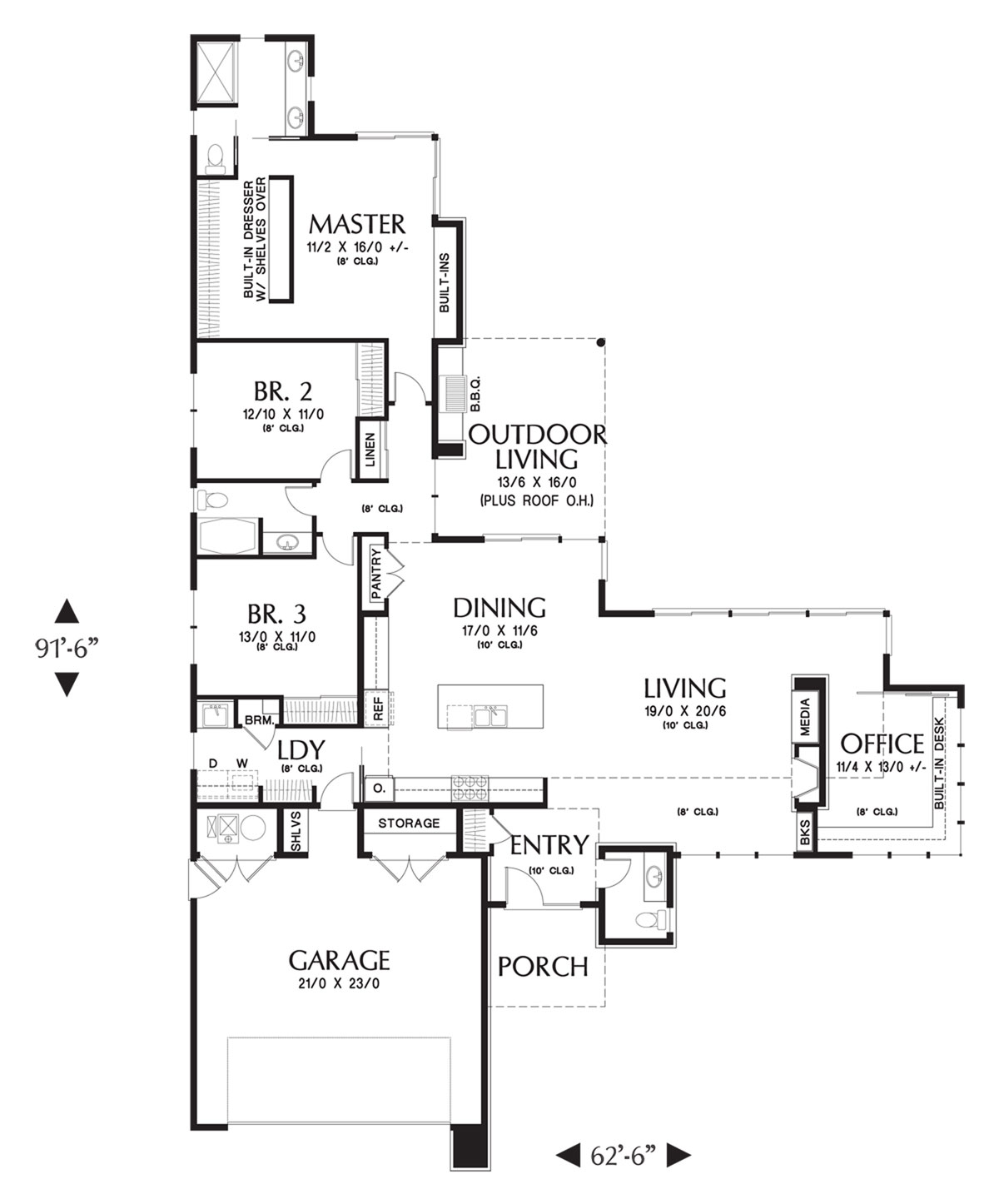 Main FLoor Plan image of Featured House Plan: BHG - 4452