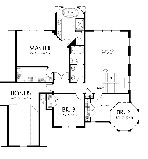 Second Floor Plan image of Featured House Plan: BHG - 4333