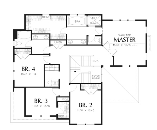 Second Floor Plan image of Featured House Plan: BHG - 5950