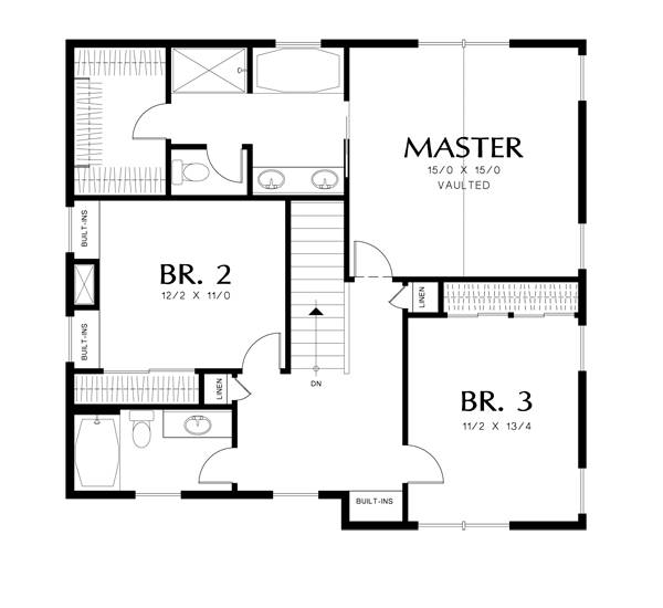 Upper Floor Plan image of Featured House Plan: BHG - 3052