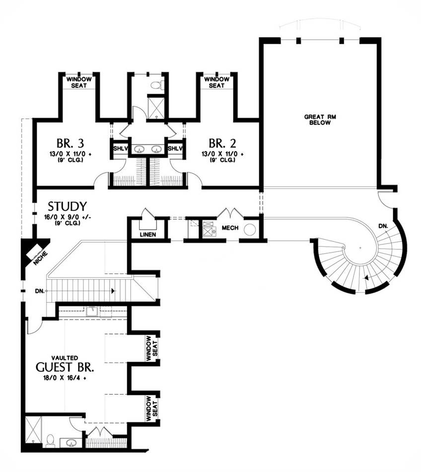 Upper Floor Plan image of Featured House Plan: BHG - 1762