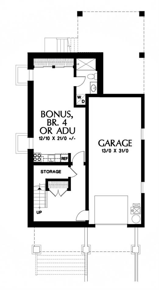 Lower Floor Plan image of Featured House Plan: BHG - 1926