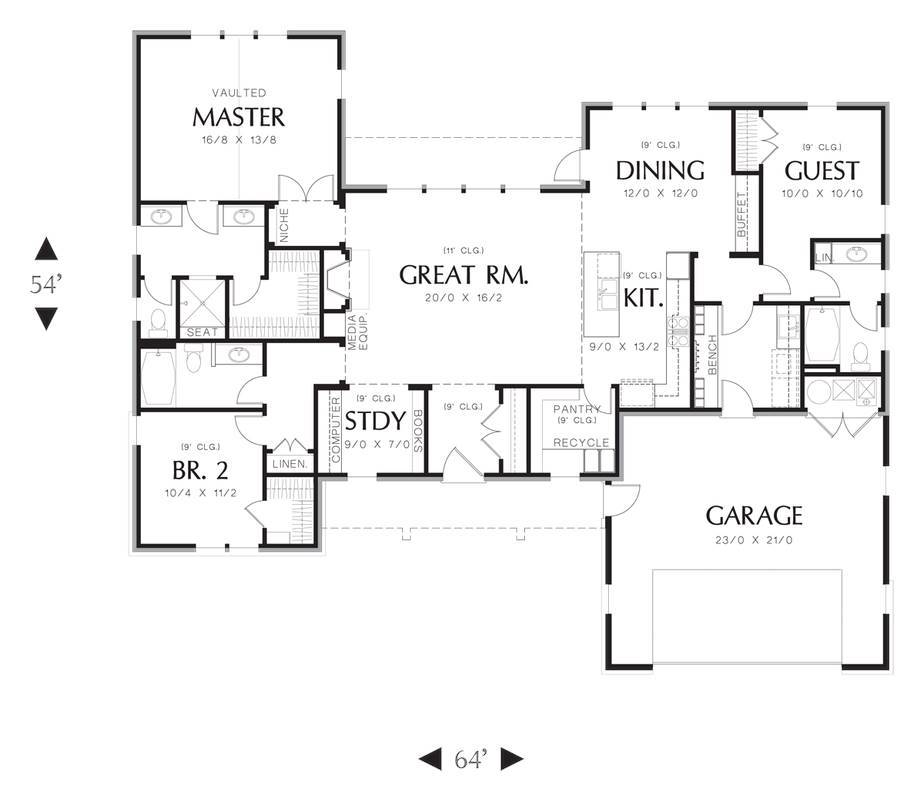 Main Floor Plan image of Featured House Plan: BHG - 3153