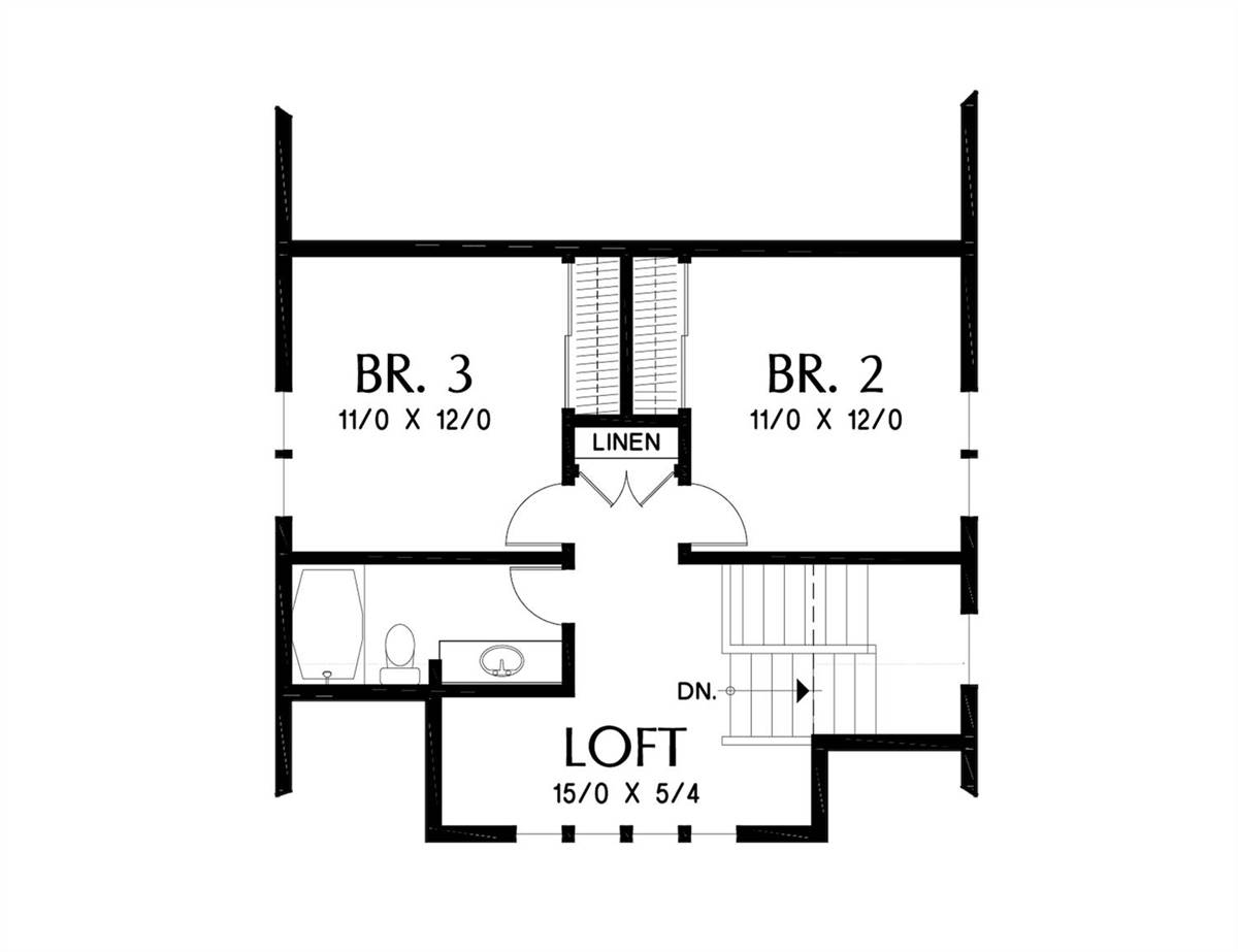 Upper Floor Plan image of Featured House Plan: BHG - 4755