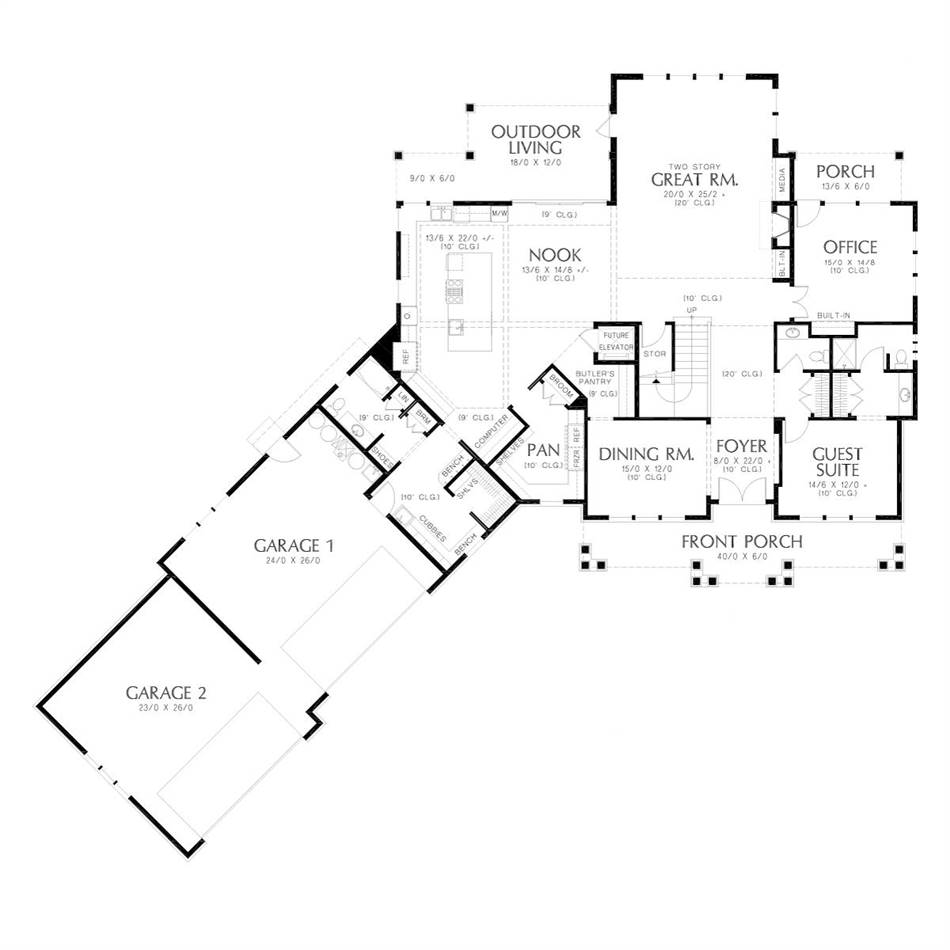 Main Floor Plan image of Featured House Plan: BHG - 5581