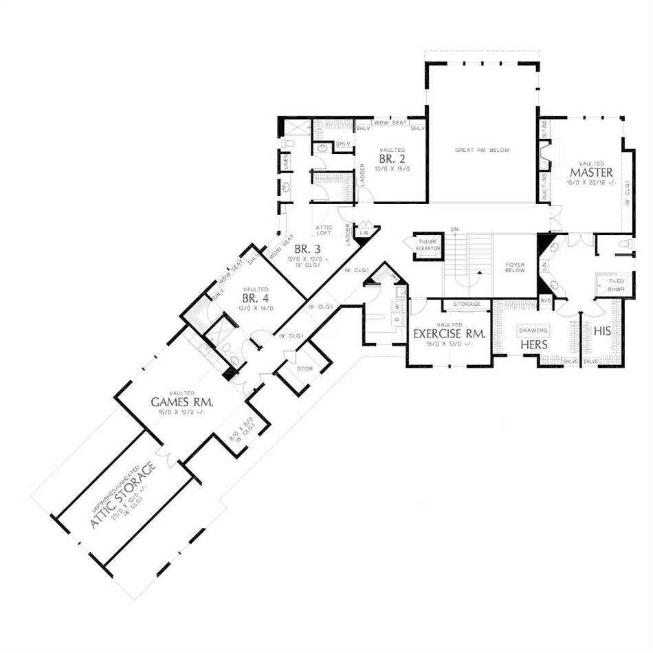 Upper Floor Plan image of Featured House Plan: BHG - 5581