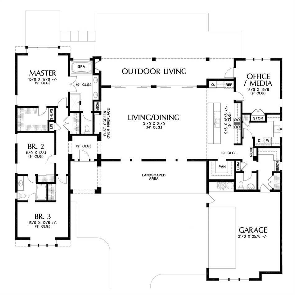 Main Floor Plan image of Featured House Plan: BHG - 5583