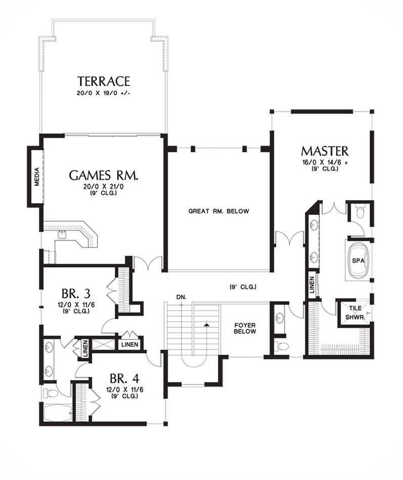 Upper Floor Plan image of Featured House Plan: BHG - 6057