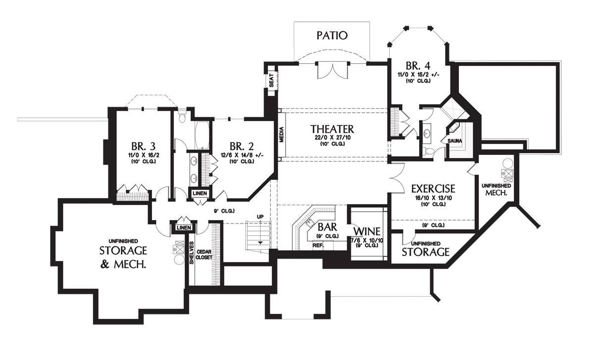 Lower Floor Plan image of Featured House Plan: BHG - 6059