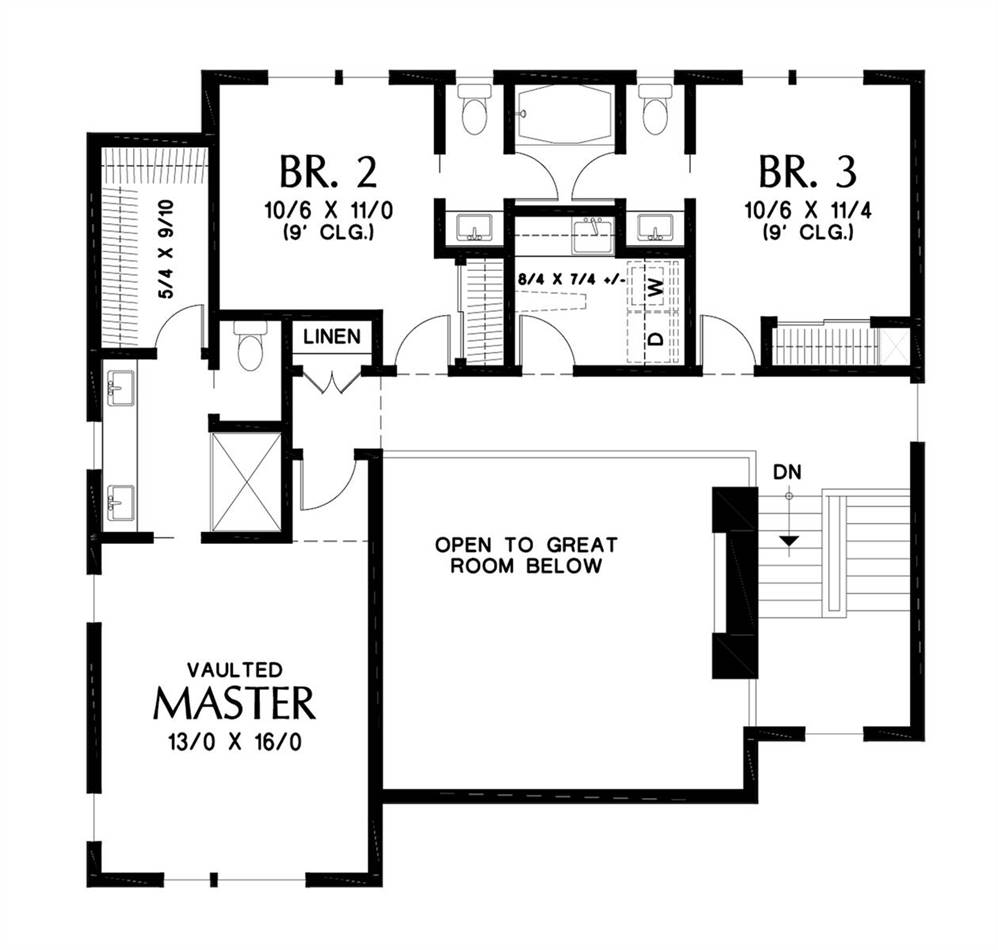 Upper Floor Plan image of Featured House Plan: BHG - 7230