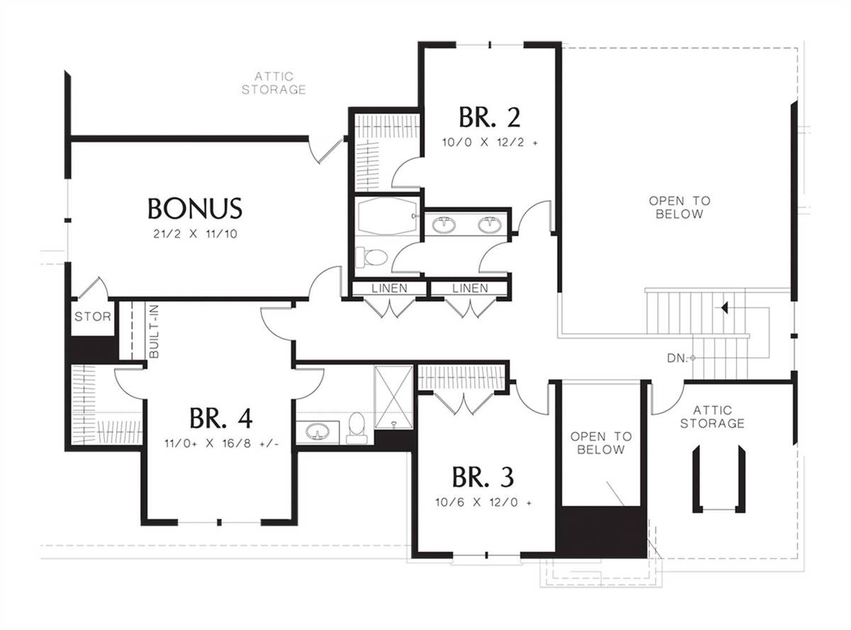 Upper Floor Plan image of Featured House Plan: BHG - 7245