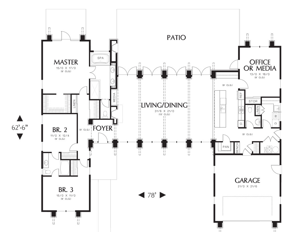 First Floor Plan image of Featured House Plan: BHG - 5173