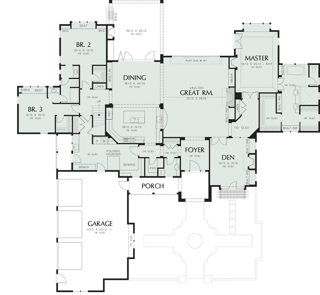 First Floor Plan image of Featured House Plan: BHG - 8292