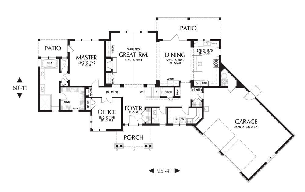 1st Floor Plan image of Featured House Plan: BHG - 9121