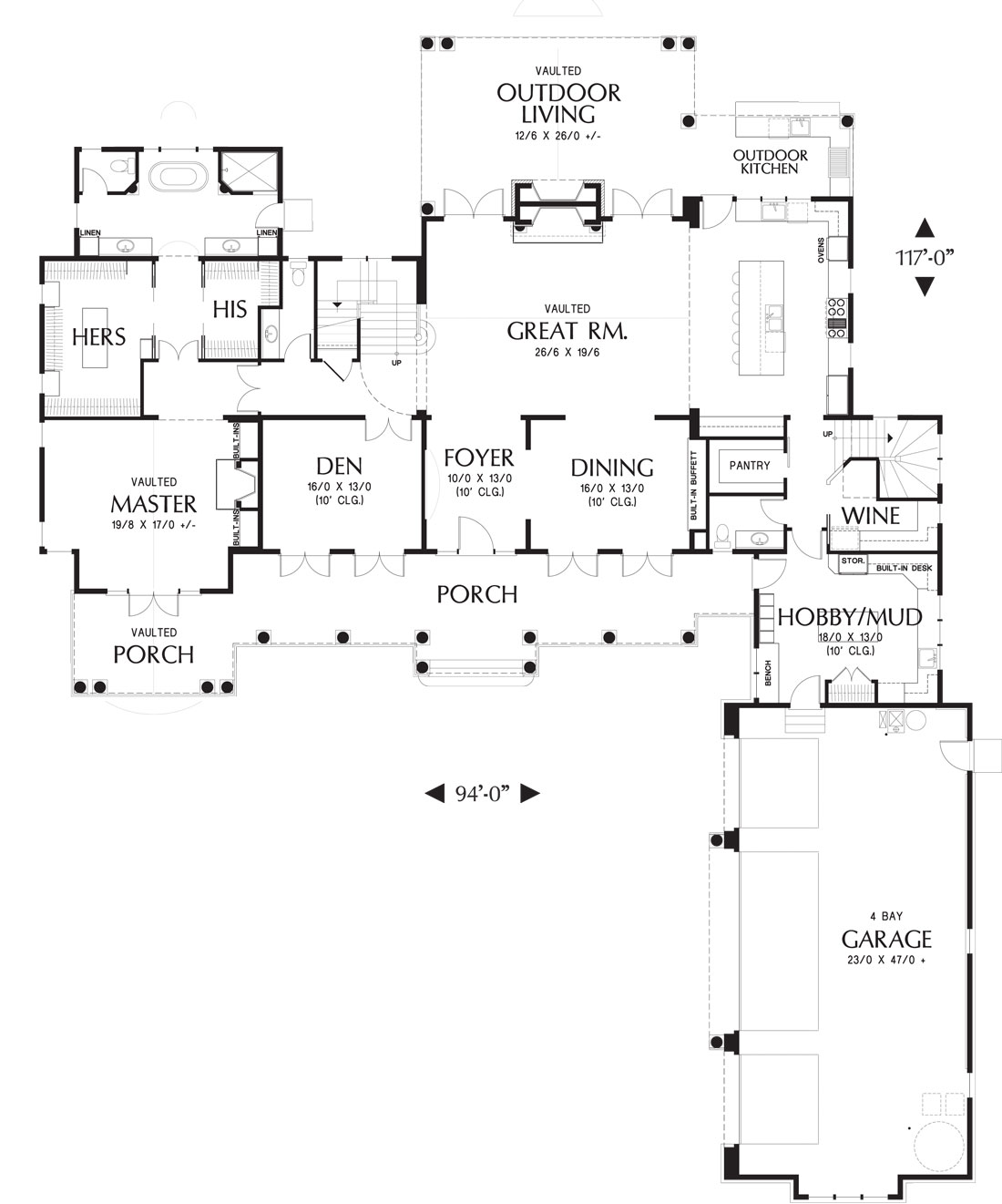 1st Floor Plan image of Featured House Plan: BHG - 5202
