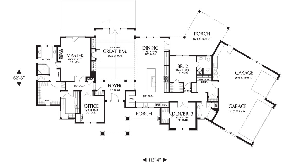 1st Floor Plan image of Featured House Plan: BHG - 9215