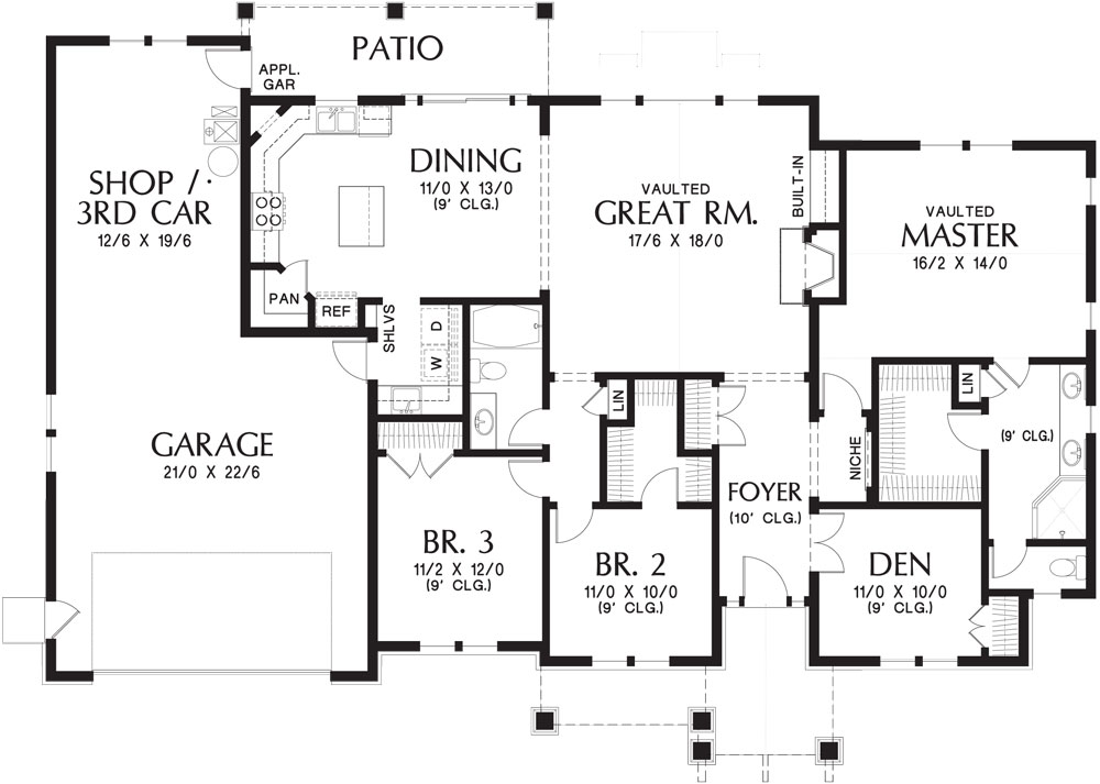 1st Floor Plan image of Featured House Plan: BHG - 9458