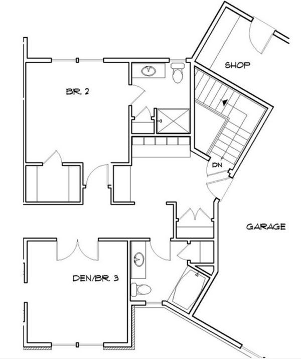 Basement Stair Location image of Featured House Plan: BHG - 9215