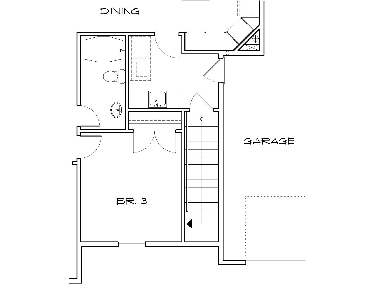Basement Stair Location image of Featured House Plan: BHG - 2428