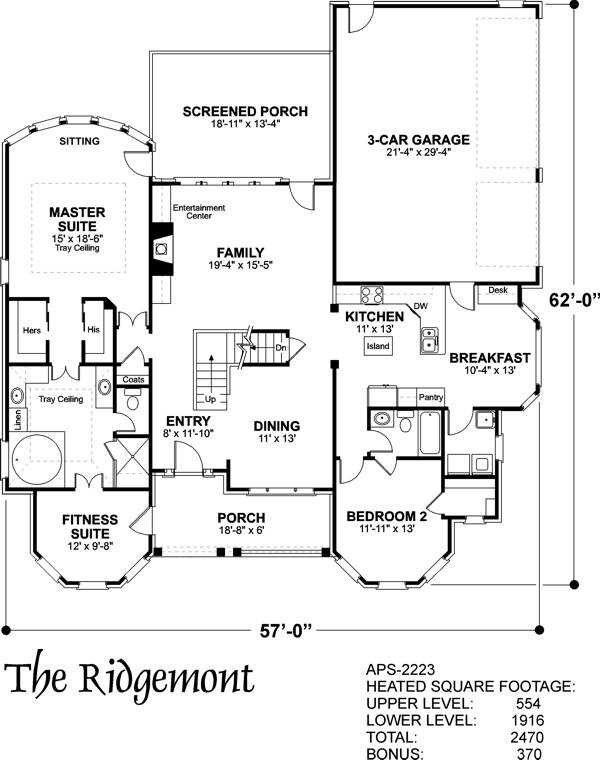 Lower Floorplan image of Featured House Plan: BHG - 6247