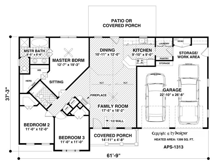 Main Level Floor Plan image of Featured House Plan: BHG - 3063
