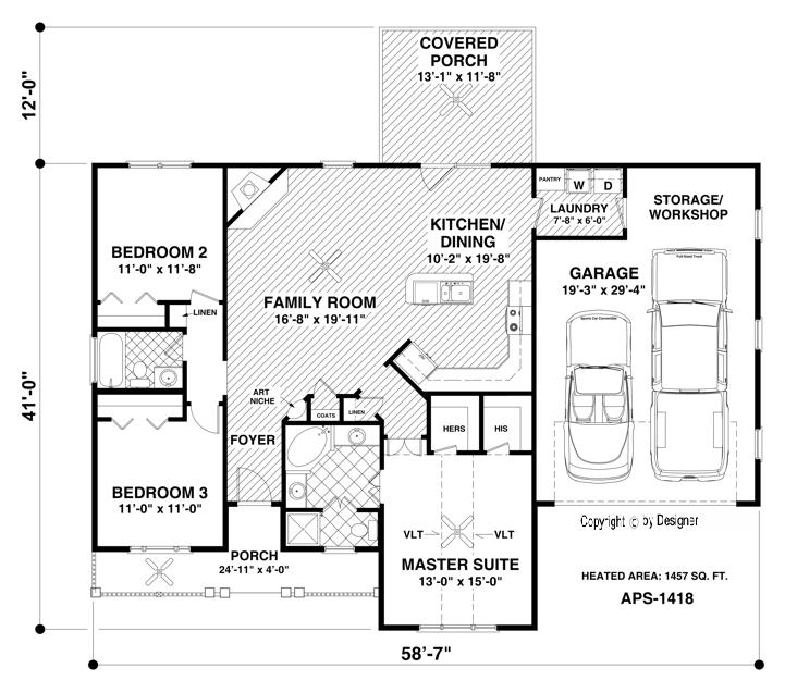 Main Level Floor Plan image of Featured House Plan: BHG - 3059