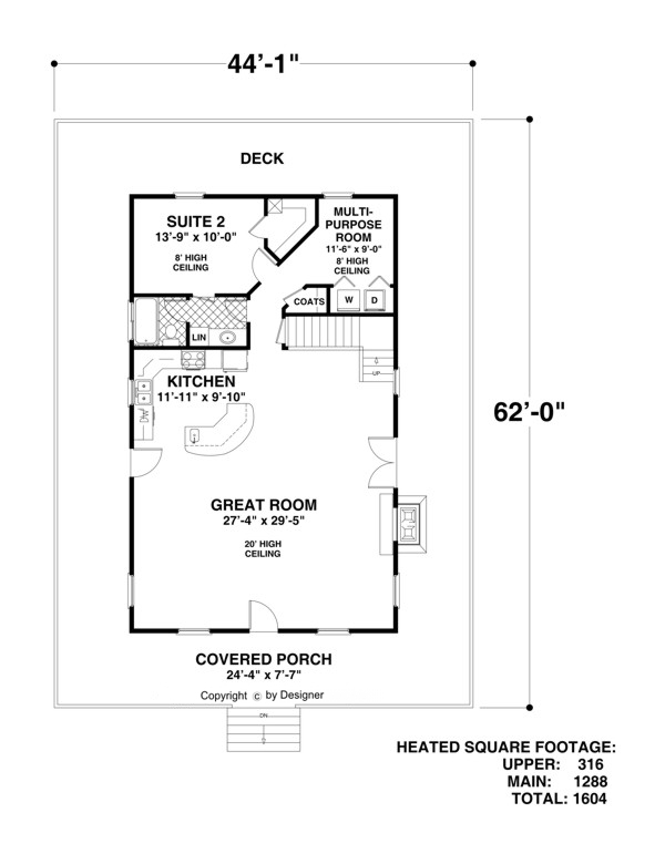 Main Level Floor Plan image of Featured House Plan: BHG - 2311