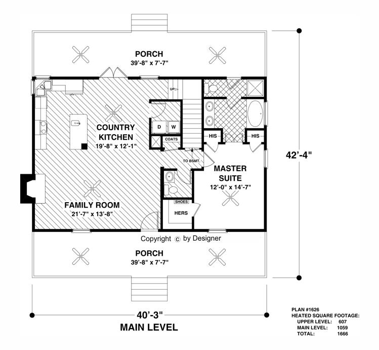 Main Level Floor Plan image of Featured House Plan: BHG - 3061