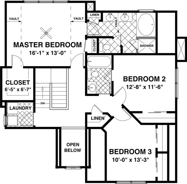 Upper Level Floorplan image of Featured House Plan: BHG - 7597