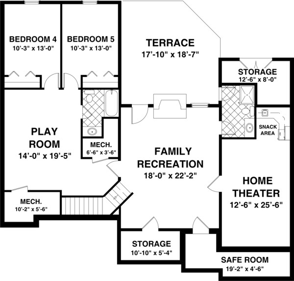 Optional Basement Plan image of Featured House Plan: BHG - 8435