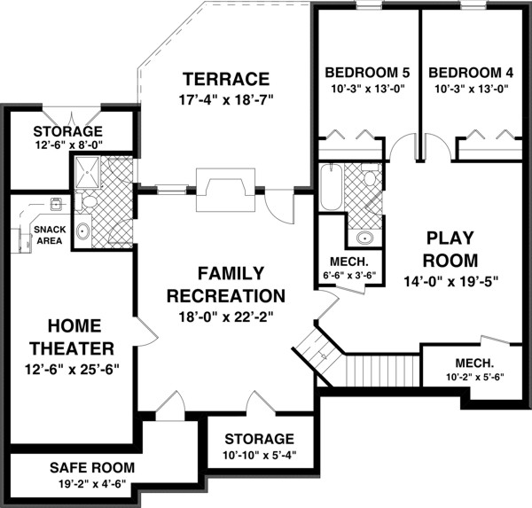 Optional Basement Plan image of Featured House Plan: BHG - 8436