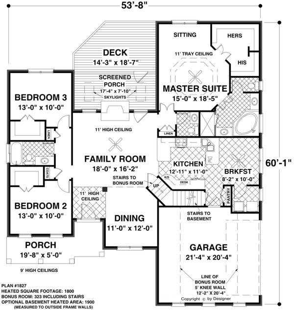 Main Level Floor Plan image of Featured House Plan: BHG - 8436