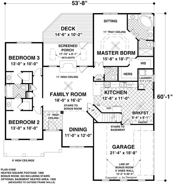 Main Level Floor Plan image of Featured House Plan: BHG - 8439