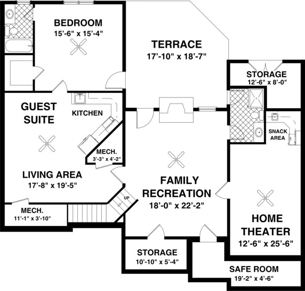 Optional Basement Plan image of Featured House Plan: BHG - 8450
