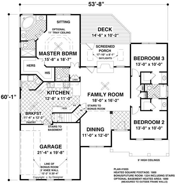 Main Level Floor Plan image of Featured House Plan: BHG - 8450