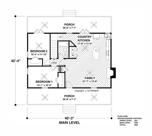 Main Level Floor Plan image of Featured House Plan: BHG - 2313