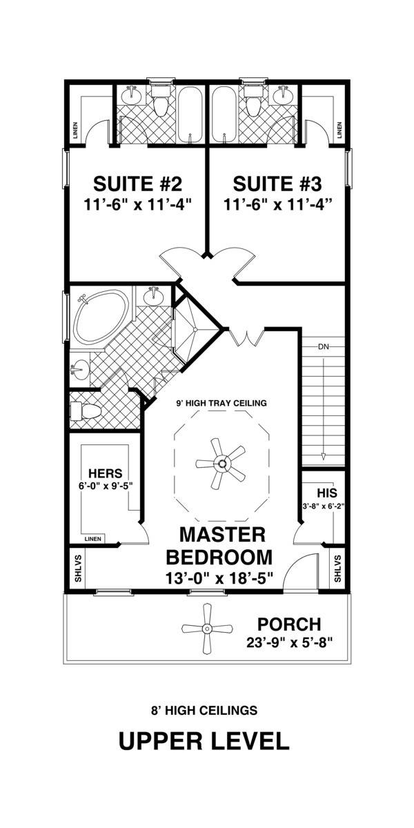 Upper Level Floorplan image of Featured House Plan: BHG - 1757