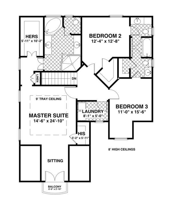 Upper Level Floorplan image of Featured House Plan: BHG - 6928