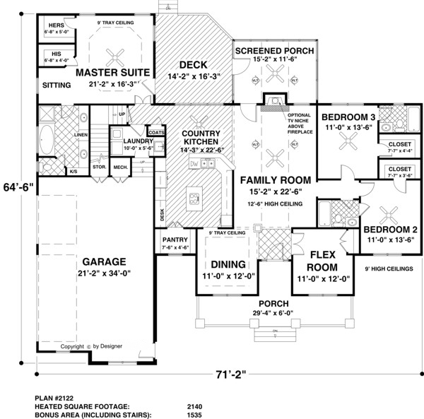 Main Level Floor Plan image of Featured House Plan: BHG - 3305