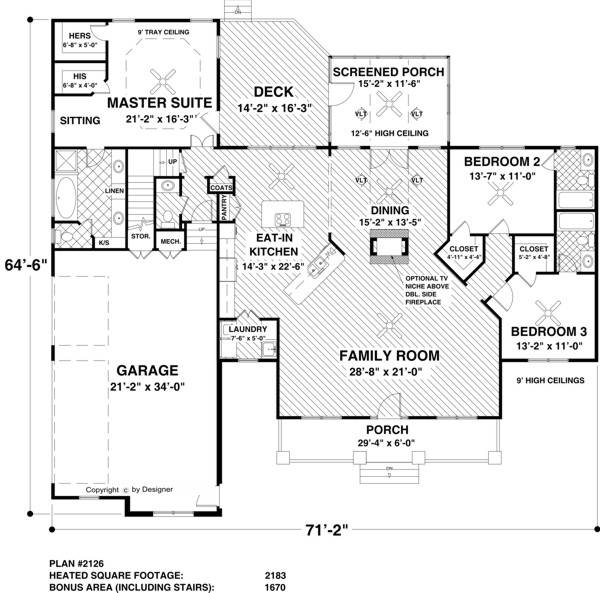 Main Level Floor Plan image of Featured House Plan: BHG - 1766