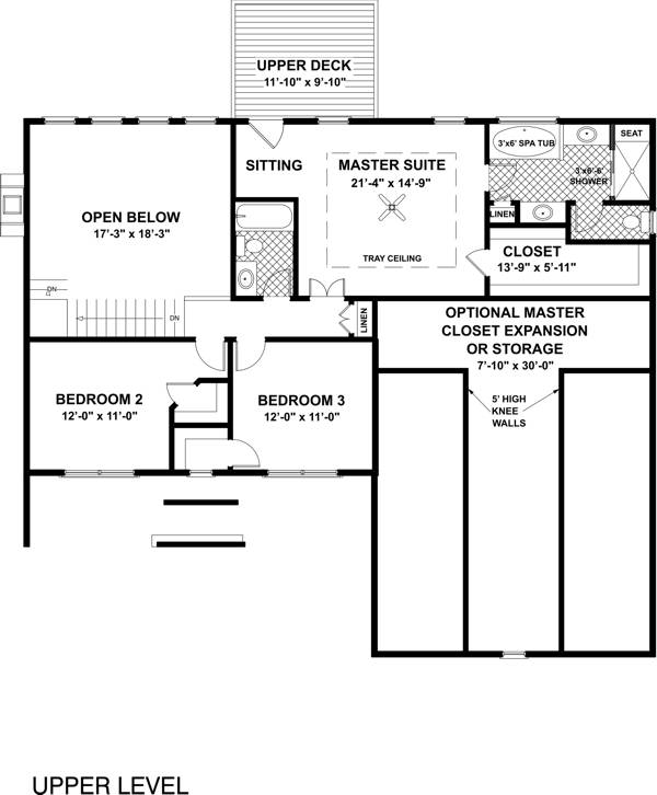 Upper Level Floorplan image of Featured House Plan: BHG - 6482