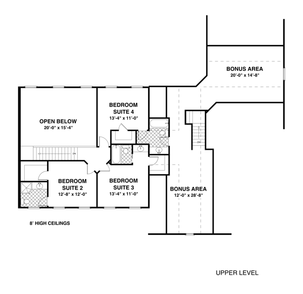 Upper Level Floorplan image of Featured House Plan: BHG - 1033
