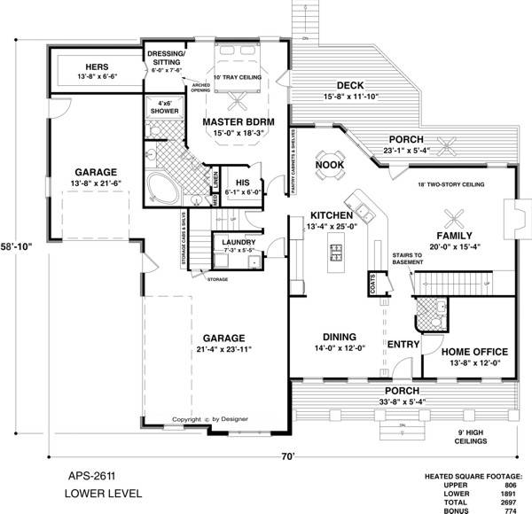 Lower Level Floorplan image of Featured House Plan: BHG - 1034