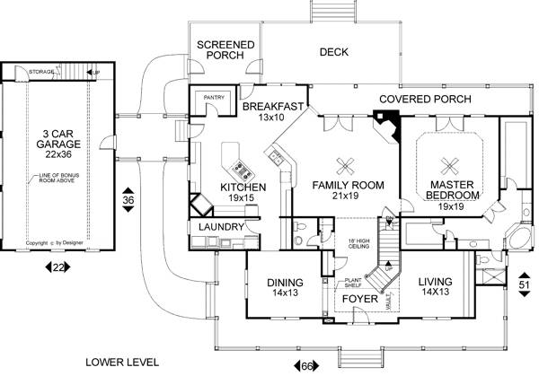Lower Level Floorplan image of Featured House Plan: BHG - 6258