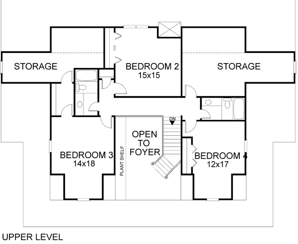 Upper Level Floorplan image of Featured House Plan: BHG - 6258