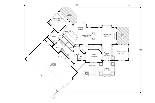 Main Level Floor Plan image of Featured House Plan: BHG - 2263