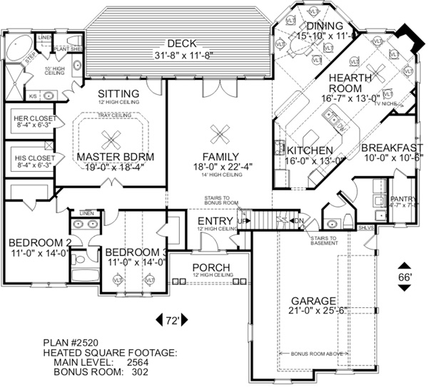 Floorplan image of Featured House Plan: BHG - 6253