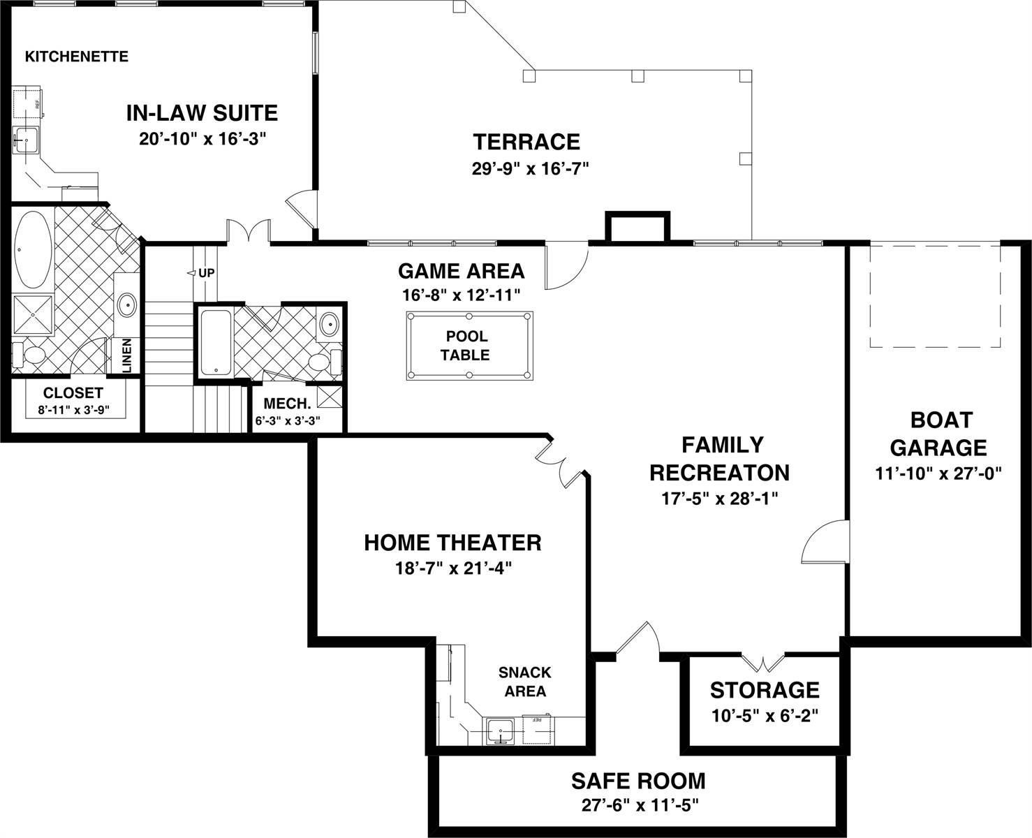 Basement Floor Plan image of Featured House Plan: BHG - 8314