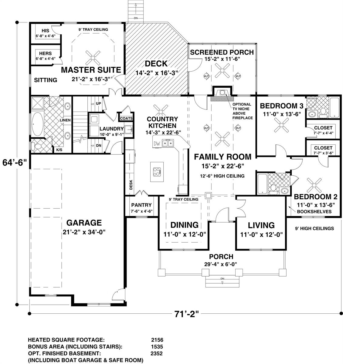 Main Level Floor Plan image of Featured House Plan: BHG - 8314
